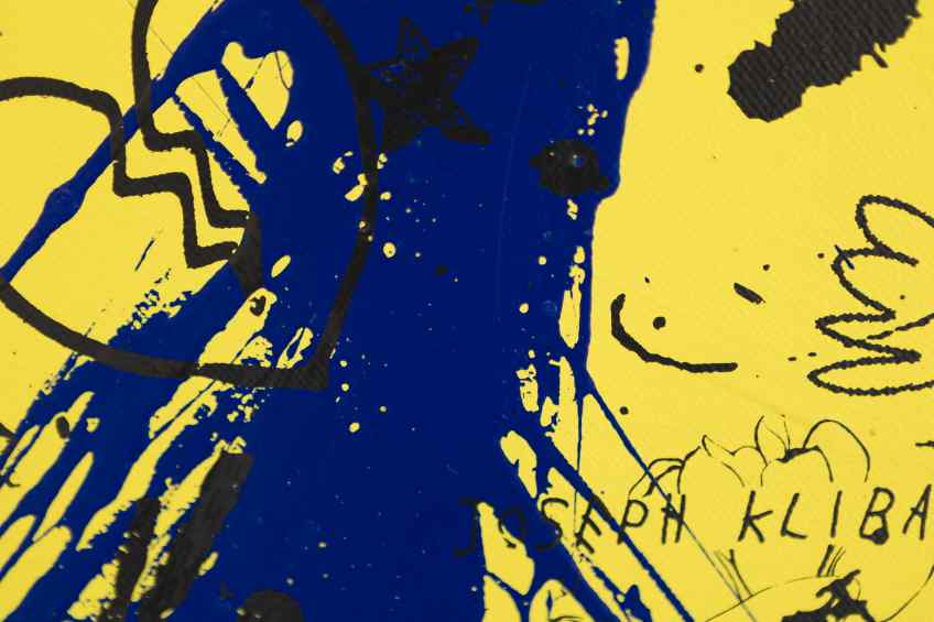 She Came To Break Hearts (yellow/black, ultramarine blue splash), 2020 by Joseph Klibansky