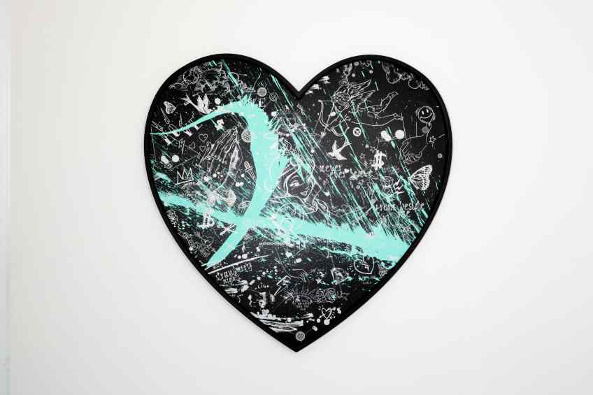 My Heart Is Yours (black/white, pastel green splash), 2020 by Joseph Klibansky
