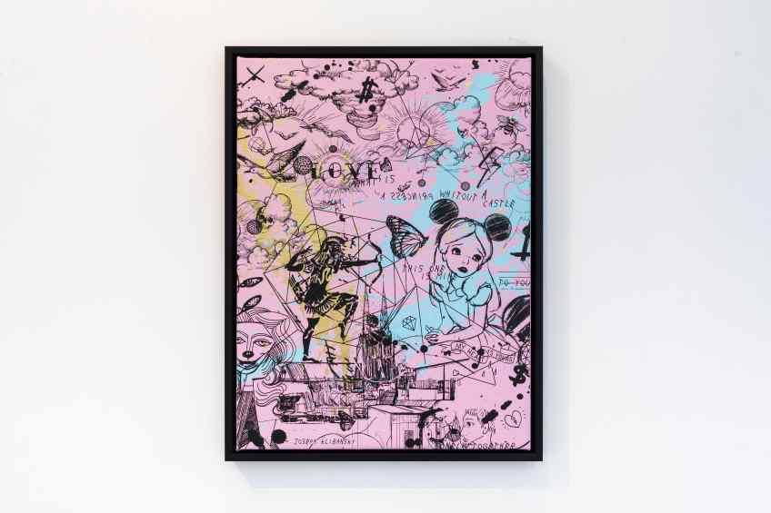 Behind the Clouds (pink/black, light blue and gold splash), 2020 by Joseph Klibansky