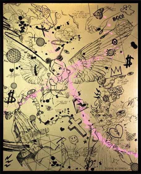 Villains In My Head (gold/black, pastel pink splash), 2019 by Joseph Klibansky