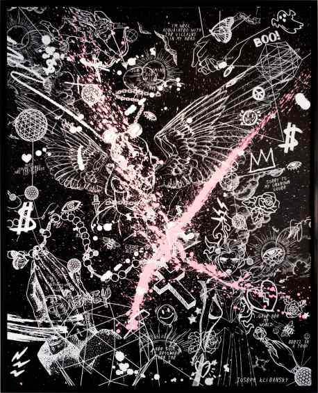 Villains In My Head (black/white, pink splash), 2019 by Joseph Klibansky