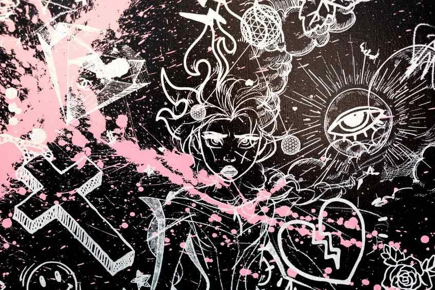 Villains In My Head (black/white, pink splash), 2019 by Joseph Klibansky