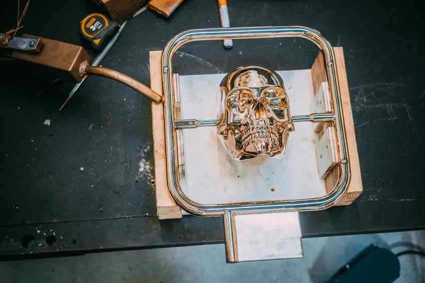 Working on Elements of Immortality in the studio - Element of Immortality (polished bronze), 2018 by Joseph Klibansky