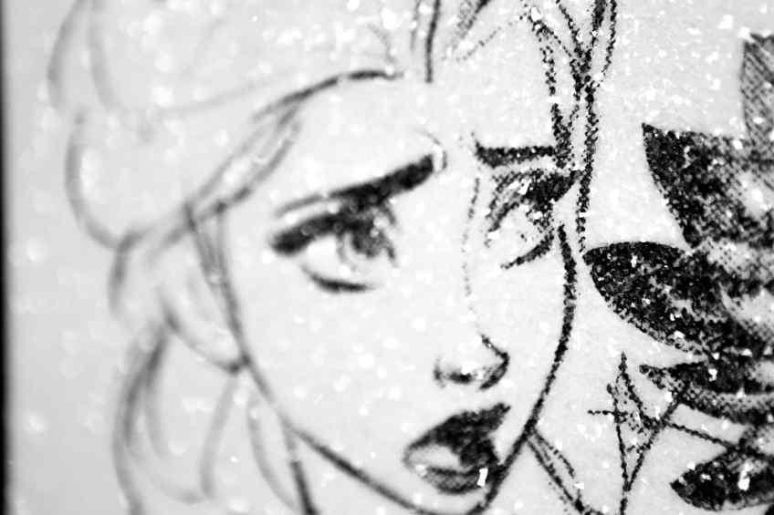 I Sent Her Flowers (white/black, diamond dust), 2019 by Joseph Klibansky