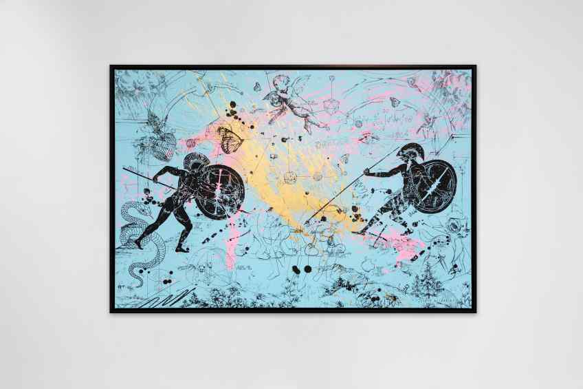 Can We Kiss Forever (light blue/black, gold and pastel pink splash), 2020 by Joseph Klibansky