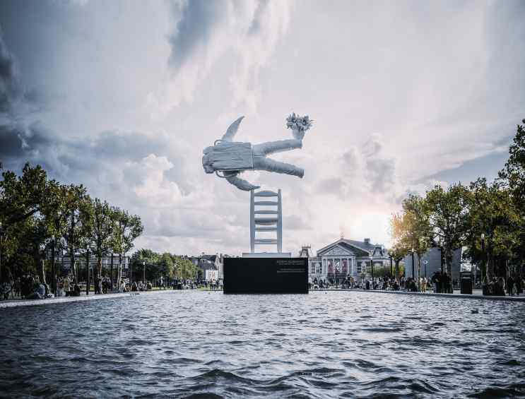 Installation view in pond in the Museum Square, in between the Van Gogh Museum, Stedelijk Museum and Rijksmuseum, in Amsterdam. - Self Portrait of a Dreamer, 2016 by Joseph Klibansky