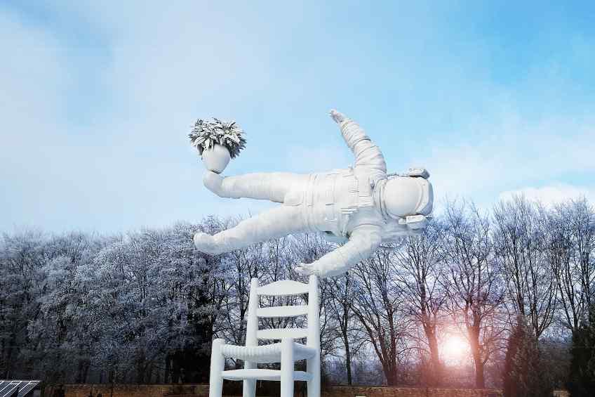 Installation view in the sculpture garden on museum De Fundate. - Self Portrait of a Dreamer, 2016 by Joseph Klibansky