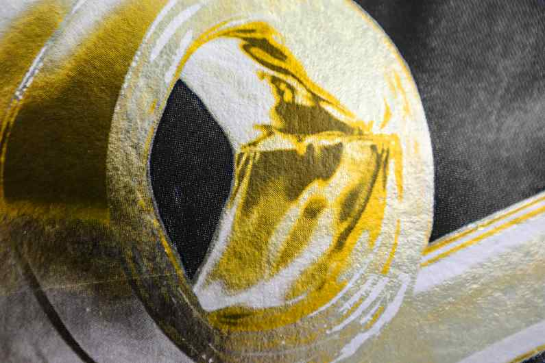 Detail of the whistle of the large Bing Bang screen print - Big Bang (edition, black/gold leaf), 2016 by Joseph Klibansky