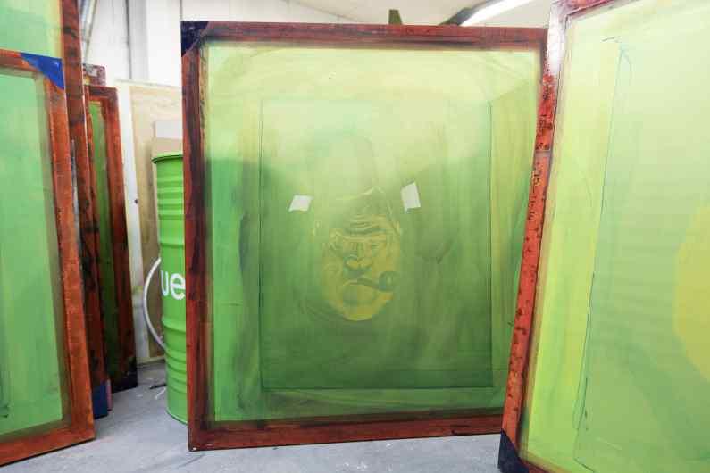 The screens used to create the small Big Bang print - Big Bang (edition, black, gold leaf, framed, screen print), 2016 by Joseph Klibansky