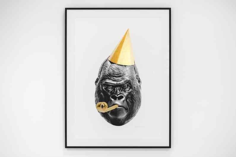 Big Bang (edition, black, gold leaf, framed, screen print), 2016 by Joseph Klibansky