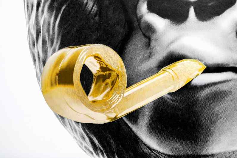 Detail of the whistle of the large Bing Bang screen print - Big Bang (edition, black, gold leaf, framed, screen print), 2016 by Joseph Klibansky