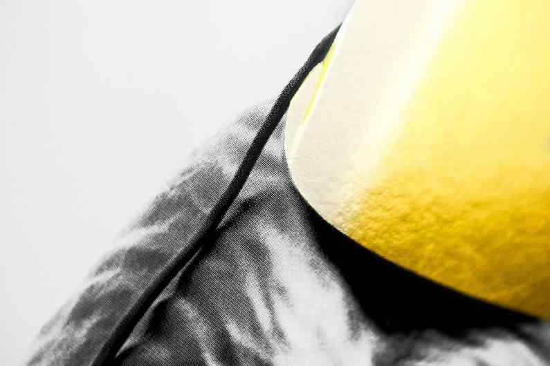 Detail of the hat of the large Bing Bang screen print - Big Bang (edition, black, gold leaf, framed, screen print), 2016 by Joseph Klibansky