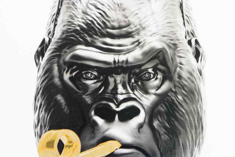 Detail of the face of the small Bing Bang screen print - Big Bang (edition, black, gold leaf, framed, screen print), 2016 by Joseph Klibansky