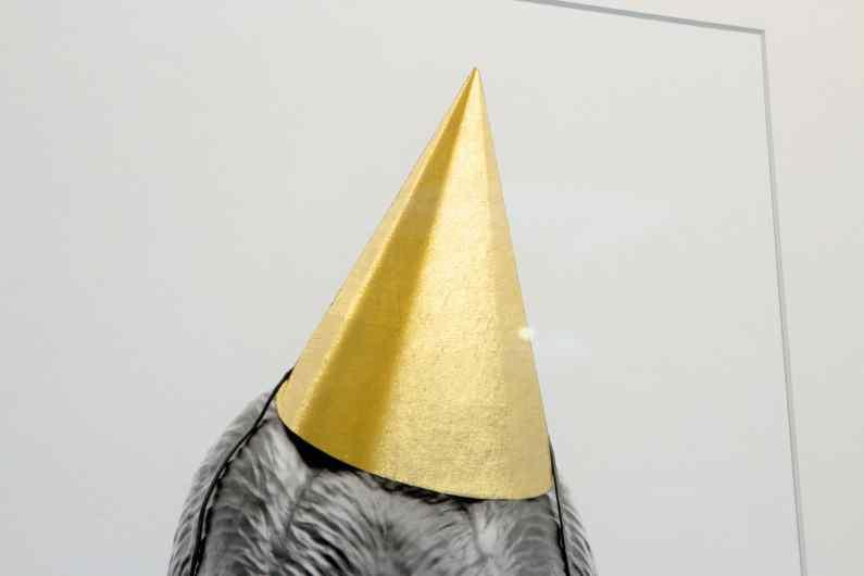 Detail of the hat of the small Bing Bang screen print - Big Bang (edition, black, gold leaf, framed, screen print), 2016 by Joseph Klibansky