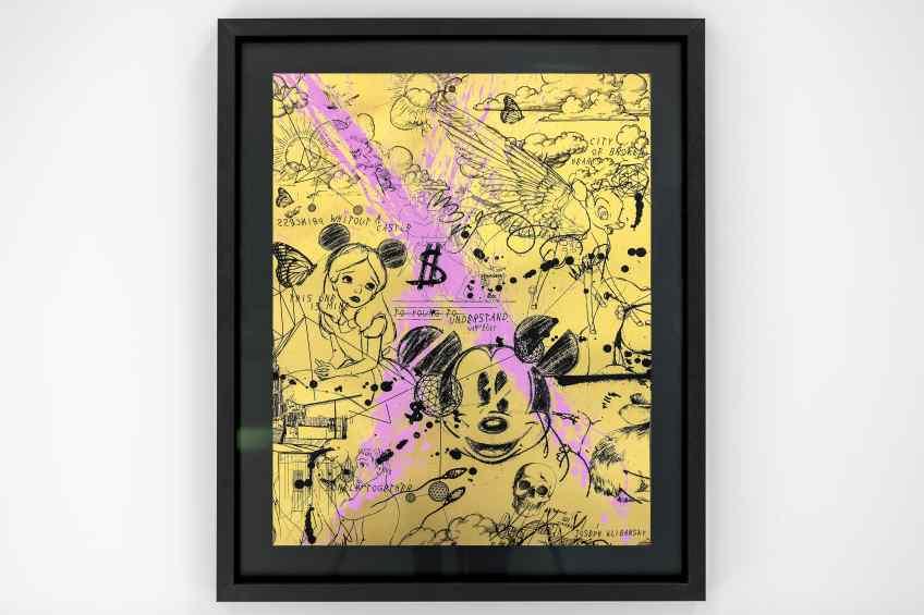 Caught Up In A Dream (edition, gold/black, pastel pink splash), 2019 by Joseph Klibansky