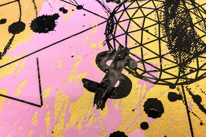 Caught Up In A Dream (edition, gold/black, pastel pink splash), 2019 by Joseph Klibansky