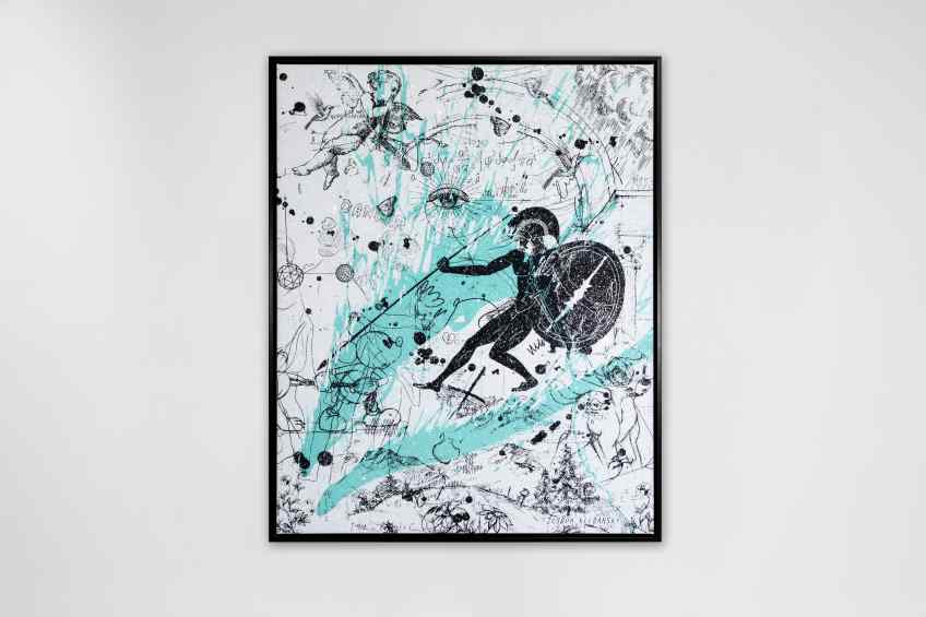 Into my Heart (white/black, turquoise splash, diamond dust), 2021 by Joseph Klibansky