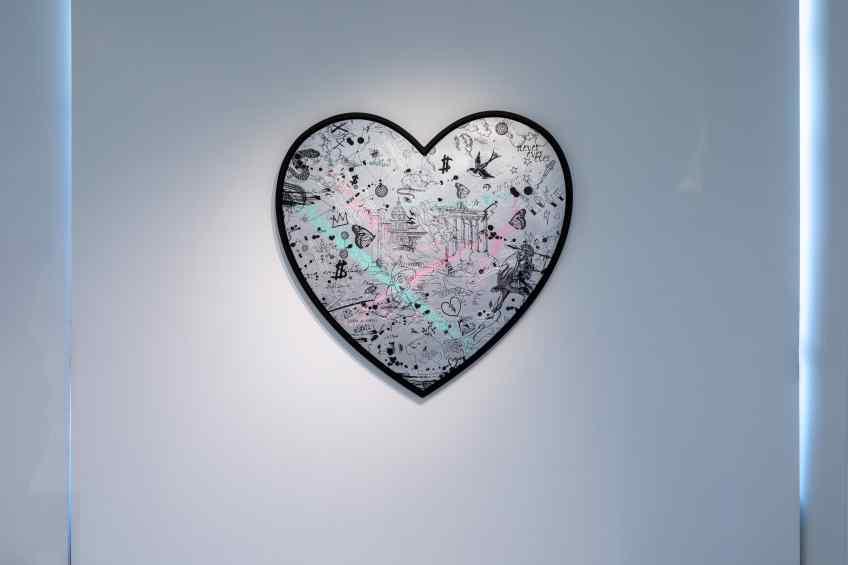 Take Me To Neverland (silver/black, pastel pink and turquoise splash), 2019 by Joseph Klibansky