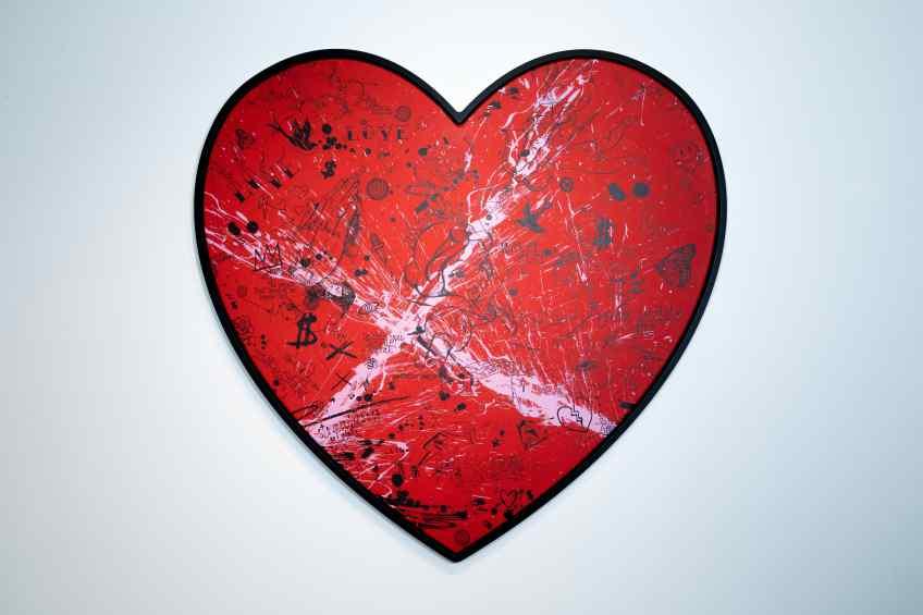My Heart Is Yours (red/black, pink splash), 2020 by Joseph Klibansky