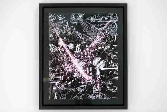 Caught Up In A Dream (edition, black/white, pastel pink splash), 2019 by Joseph Klibansky