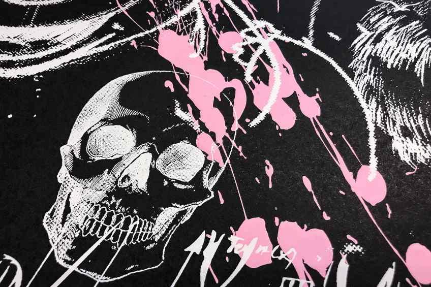 Caught Up In A Dream (edition, black/white, pastel pink splash), 2019 by Joseph Klibansky