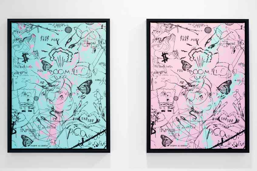 Butterflies Live Forever (small, pastel pink/turquoise blue splash/black), 2018 by Joseph Klibansky