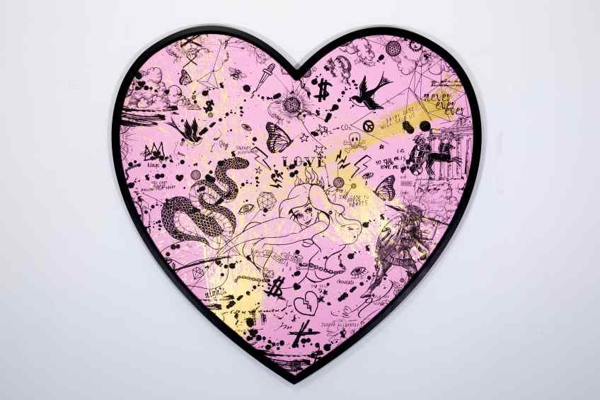 She Came To Break Hearts (pink/black, gold splash), 2020 by Joseph Klibansky
