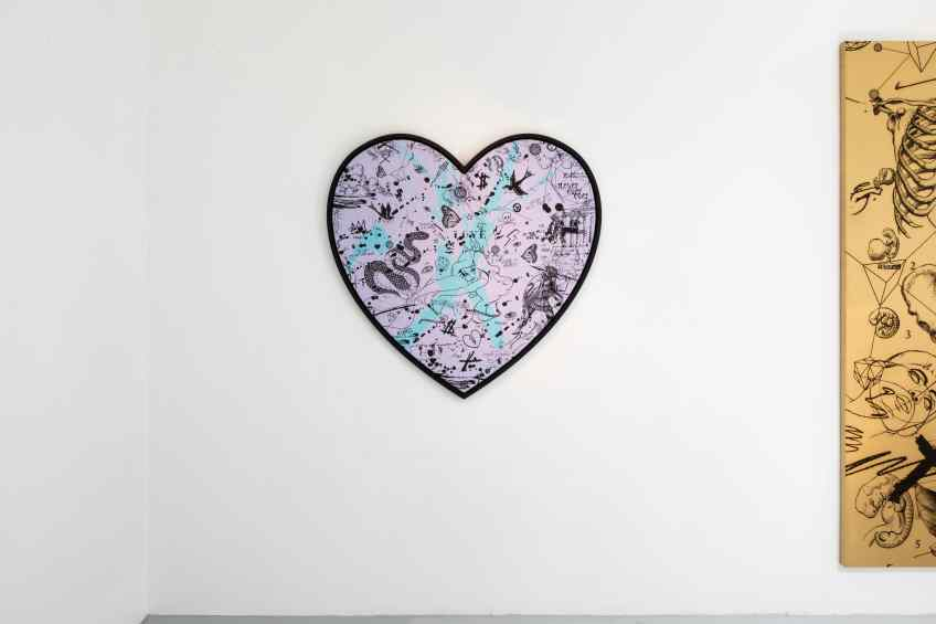 She Came To Break Hearts (lilac/black, turquoise splash), 2020 by Joseph Klibansky