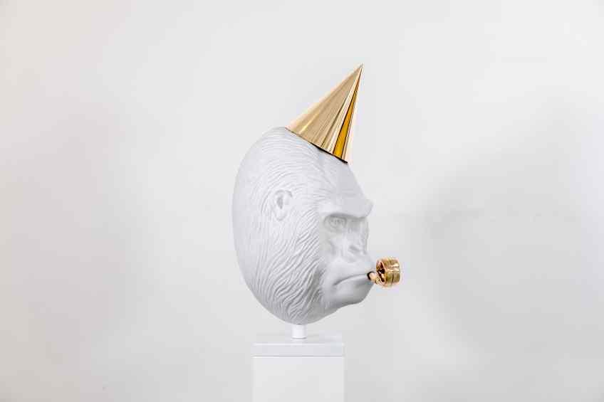 Big Bang (painted bronze, white), 2019 by Joseph Klibansky
