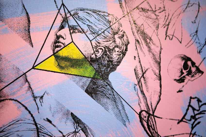 Apple of my Eye (pink, lilac/black, fluorescent yellow), 2016 by Joseph Klibansky