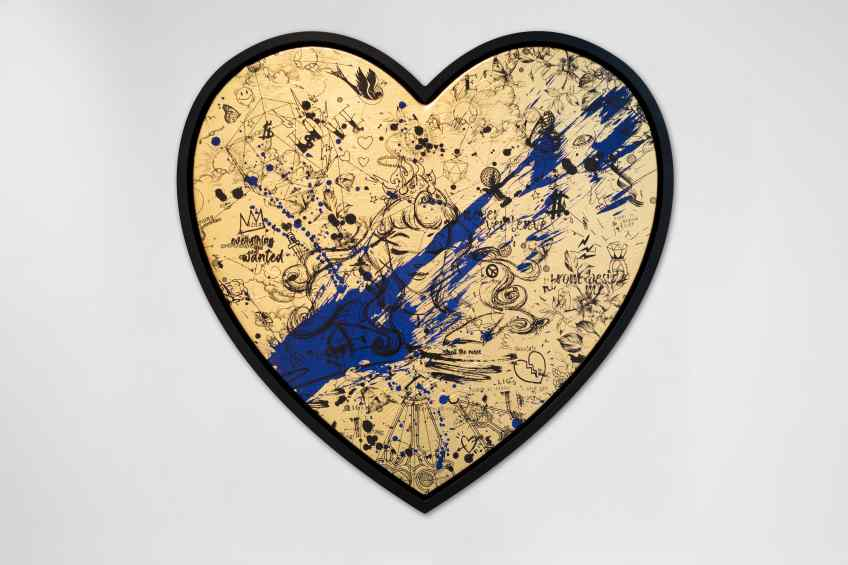 All of Me (gold/black, ultramarine splash), 2021 by Joseph Klibansky