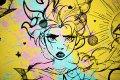 Villain In My Head (yellow/black, pink and turquoise splash), 2019 by Joseph Klibansky