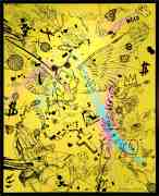 Villain In My Head (yellow/black, pink and turquoise splash), 2019 by Joseph Klibansky