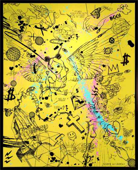Villains In My Head (yellow/black, pink and turquoise splash), 2019 by Joseph Klibansky