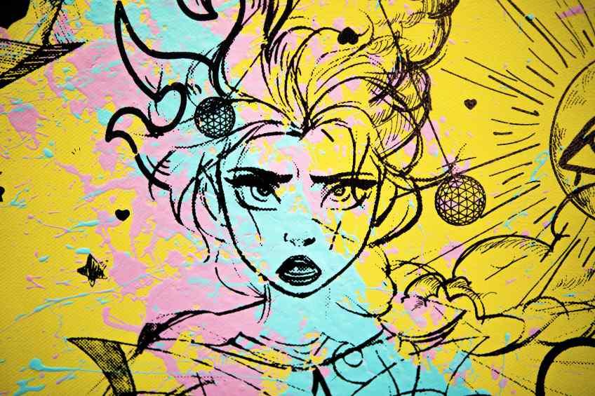 Villains In My Head (yellow/black, pink and turquoise splash), 2019 by Joseph Klibansky