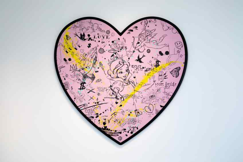My Heart Is Yours (pink/black, yellow and turquoise splash), 2019 by Joseph Klibansky