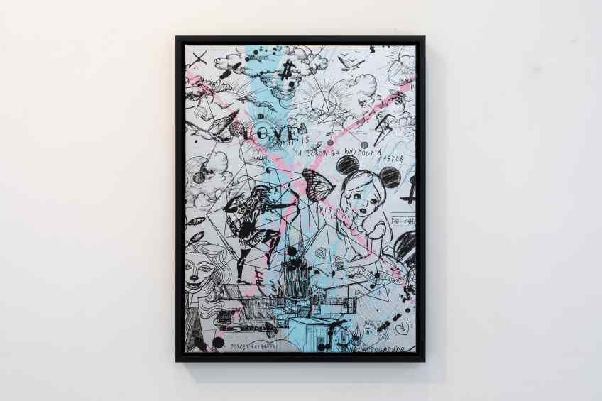 Behind the Clouds (silver/black, light blue and pastel pink splash) I, 2020 by Joseph Klibansky