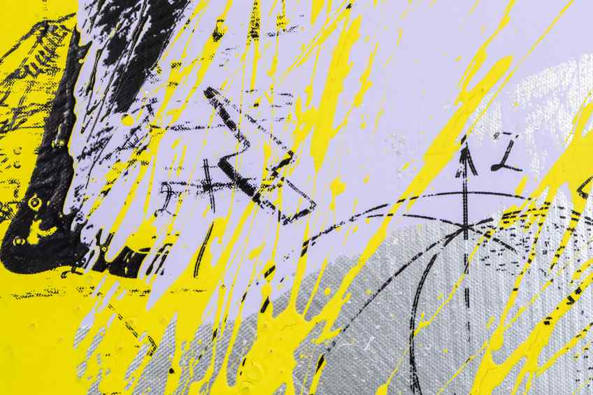Forever Mine (silver/black, lilac and yellow splash), 2020 by Joseph Klibansky