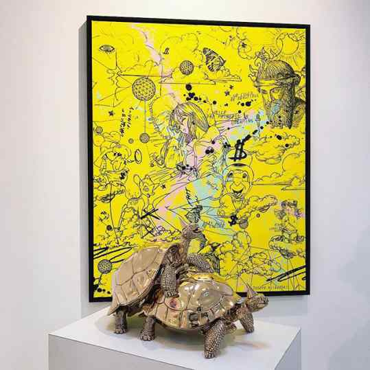 If you had to choose between the turtles or the painting..? . . #art #sculpture #artcontemporain #turtles #painting #artbasel #artgallery