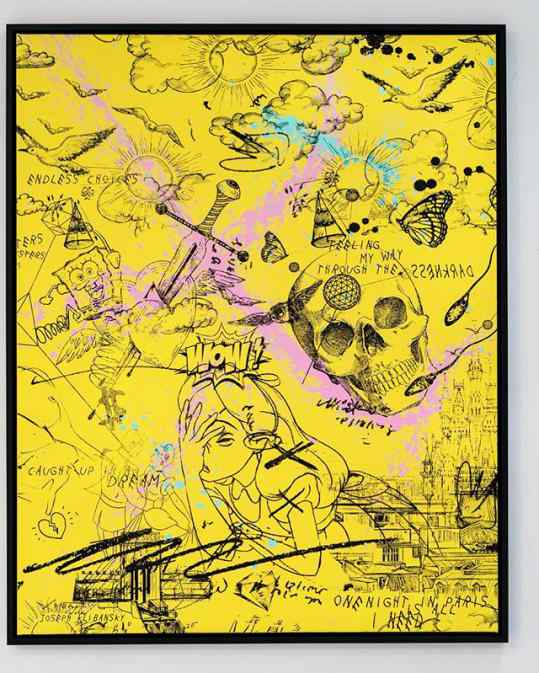 Who would hang a bright yellow painting in their home? . #painting #contemporaryart #artbasel