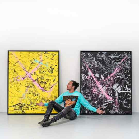 If you had to choose between the Black or Yellow painting...? . #painting #contemporaryart #artmiami