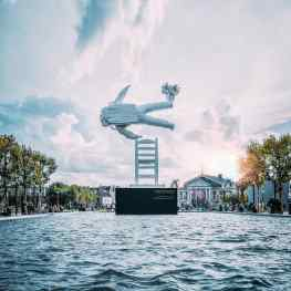 """My dear friends.. for everyone that still wants to take a picture of """"self portrait of a dreamer"""" on this mesmerizing location in #amsterdam ✨ NOW is your chance! We will start removing the sculpture coming Thursday the 30th of August.. otherwise you will have to come to #shanghai 🤗"""