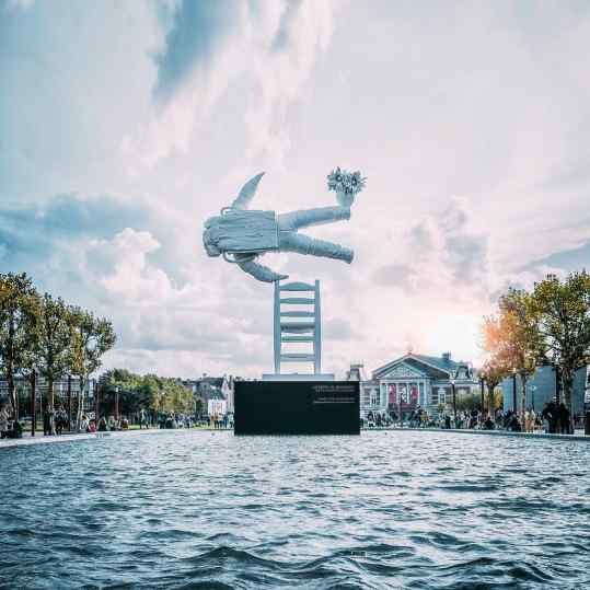"My dear friends.. for everyone that still wants to take a picture of ""self portrait of a dreamer"" on this mesmerizing location in #amsterdam ✨ NOW is your chance!  We will start removing the sculpture coming Thursday the 30th of August.. otherwise you will have to come to #shanghai 🤗"
