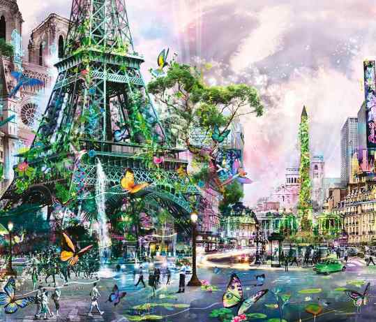 "This is a part of my painting ""Dreams of Eden"" created in 2013  a utopian vision on #paris  do you think I should revisit my old style in 2019? . #painting #artcontemporain"