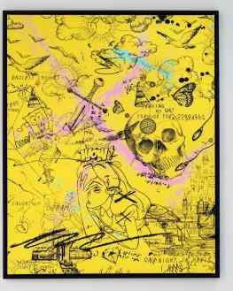 Who would hang a bright yellow painting in their home? .#painting #contemporaryart #artbasel