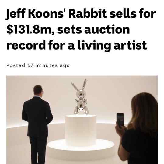 $40.000. 33years ago. Now 131.8 million dollars.. who said artist should be dead to reach these types of prices. Your opinion? . . . #jeffkoons #art #koons #contemporaryart #artworld #christies