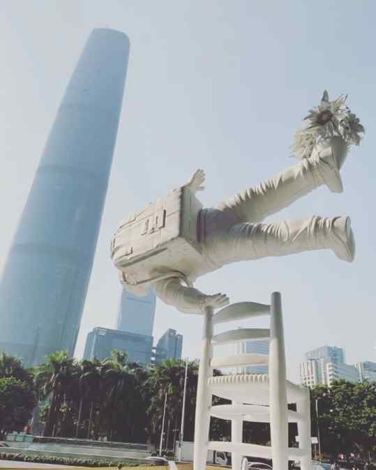Just can't get over how cool this looks.. my sculpture in front of the 5th tallest building in the world in #guangzhou #china .. whats next!?